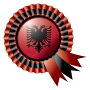 Stock Illustration of Albania detailed silk rosette flag, eps10 vector illustration