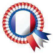 France detailed silk rosette flag, eps10 vector illustration Stock Illustration
