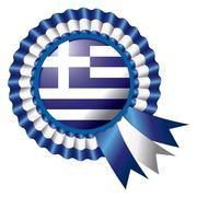 Greece detailed silk rosette flag, eps10 vector illustration Stock Illustration