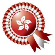 Stock Illustration of Hong Kong detailed silk rosette flag, eps10 vector illustration