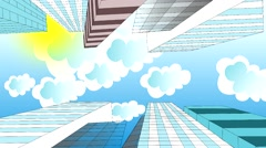The clouds are flying in the sky over skyscrapers, animation, cartoon - stock footage
