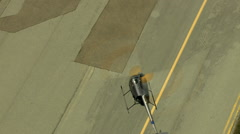 Aerials California USA Aerials helicopter take off airport - stock footage