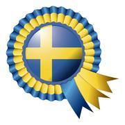 Stock Illustration of Sweden detailed silk rosette flag eps10 vector illustration