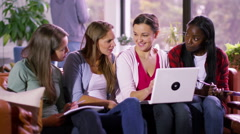 4K Cheerful young female student group working together with laptop computer Stock Footage