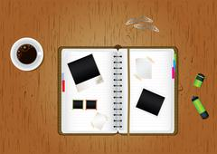 scrapbook, cup of coffee, blank paper, marker and paperclips on wooden office de - stock illustration