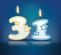 Birthday candle number 31 Stock Illustration