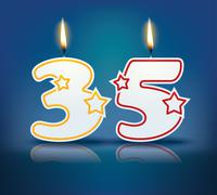 birthday candle number 35 - stock illustration