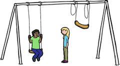 Sad Children at Swing Set Stock Illustration