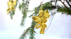 Christmas decoration with gold little angels on branch of spruce. HD. 1920x1080 Stock Footage
