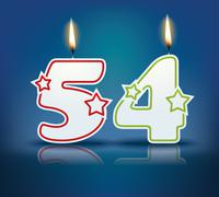 Birthday candle number 54 Stock Illustration