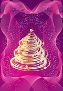 Stock Illustration of vector illustration background of Christmas tree over pink foliage
