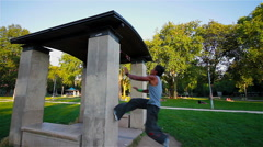 Parkour Jump At Paris Stock Footage