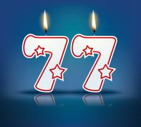 birthday candle number 77 - stock illustration
