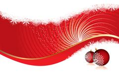 Christmas card template with red ornaments and copy-space, vector illustration - stock illustration