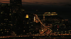 Aerial USA San Francisco Oakland Bay Bridge sunset - stock footage