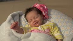 Newborn Baby Smiling In Her Sleep Stock Footage