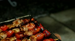 Bar-B-Q or BBQ grill of meat Stock Footage