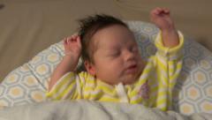 Newborn Baby Epic Stretch Then Sleep Stock Footage