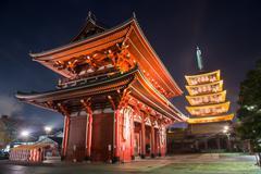 Senso-ji temple at night, asakusa, tokyo, japan Stock Photos