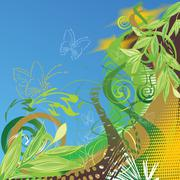 Abstract vector floral background with butterflies Stock Illustration
