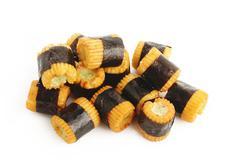 seaweed wrapped rice crackers wasabi stuffed - stock photo