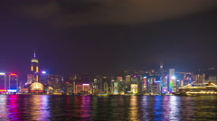 Hong Kong skyline at night with the Symphony of Lights Stock Footage