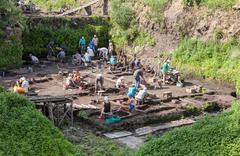 Archaeological excavations near the walls of an ancient kremlin in veliky nov Stock Photos