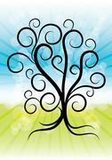 abstract summer tree with curly branches on shiny background, eps10 vector illus - stock illustration