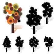 Brush stroke artistic tree collection, vector illustration Stock Illustration