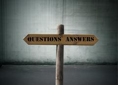 questions, answers - stock photo