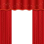 Theater curtains with copy space, vector illustration (mesh used) Piirros