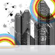 Urban business fantasy landscape, vector illustration Stock Illustration
