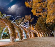 Garden boardwalk along Southbank in Brisbane at night, Australia Stock Photos
