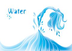 Abstract girl jumping out of water, artistic vector with mesh effect Stock Illustration