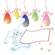 Easter bunny easter eggs with copyspace over white, vector illustration Stock Illustration