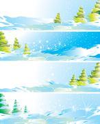 set of four winter landscape banners, vector illustration - stock illustration