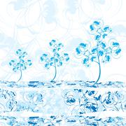 Stock Illustration of winter trees in blue color shades vector illustration