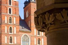 town market sukiennice and saint mary basilica - stock photo