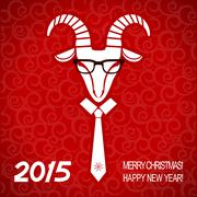 Stock Illustration of new year red card with goat.vector business greeting card