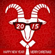New year red card with goat and glasses.vector business greeting card Stock Illustration