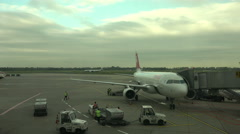 Dusseldorf Germany airport ramp aircraft 4K 026 Stock Footage