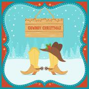 Cowboy christmas card with western boots and hat on winter background Stock Illustration