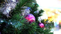 Christmas scene with tree and colordul balls, close-up. Shift motion. HD. Stock Footage
