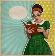Retro surprised young woman with book Stock Illustration