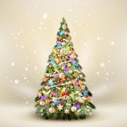 Christmas fir tree on elegant beige. EPS 10 Stock Illustration