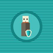 Stock Illustration of data protection in portable devices flat icon
