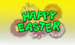 Happy easter flowers background Stock Photos