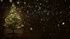 Retro background, decorated christmas tree with yellow and green balls with snow Stock Footage