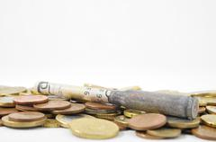 money and weapons concept bullet and money - stock photo