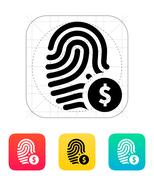 Fingerprint with USD currency symbol and money label icon. Stock Illustration
